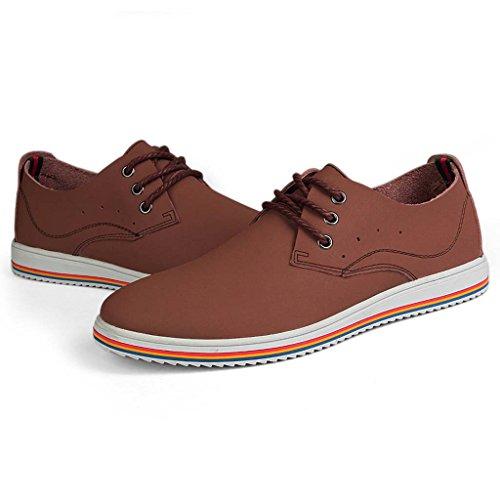 ZXCV Zapatos al aire libre Zapatos de los hombres ocasionales de encaje de moda zapatos transpirables zapatos hechos a mano Marron oscuro