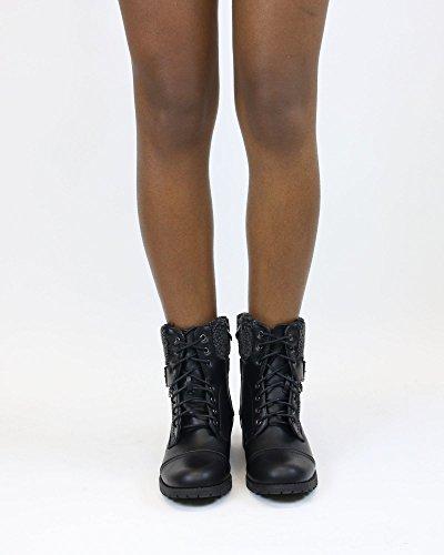 Frist Zicht Damesbont Bovenzijde Gesp Laarsjes - Zwart Zwart