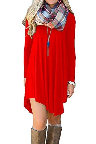 Women's Long Sleeve Tunic Dress Simple Casual Swing T-shirt Dress L (Red Tunic Dress)