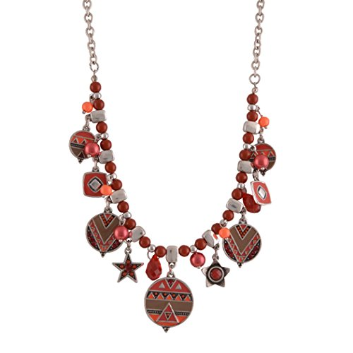 Real Spark Womens Exotic Plaid Geometrical Beaded Chain Statement Pendant Necklace Red