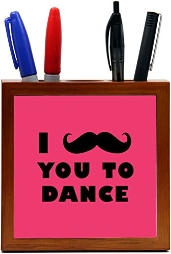 Rikki Knight I Mustache You To Dance Violet Color Design 5-Inch Tile Wooden Tile Pen Holder (RK-PH42952) by Rikki Knight