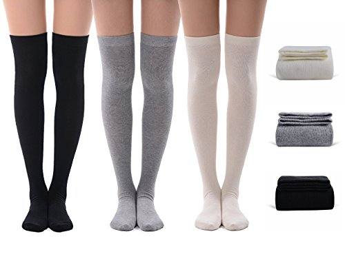 Girls School Uniform Socks, MEIKAN Solid Color Women Over Knee High Fashion School Socks 3 Pairs (White,Grey,Black)