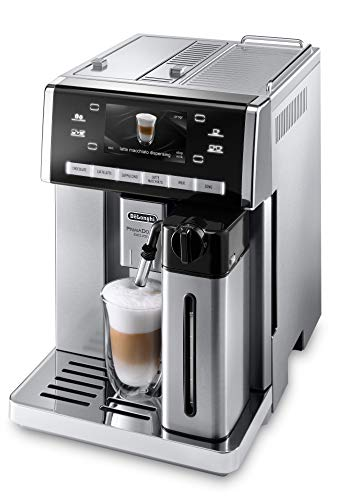 Delonghi super-automatic espresso coffee machine with double boiler, milk frother, chocolate maker for brewing espresso, cappuccino, latte, macchiato & hot chocolate ESAM6900M Primadonna