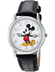 Disney Mens Mickey Mouse Quartz Metal Casual Watch, Color:Black (Model: WDS000403)