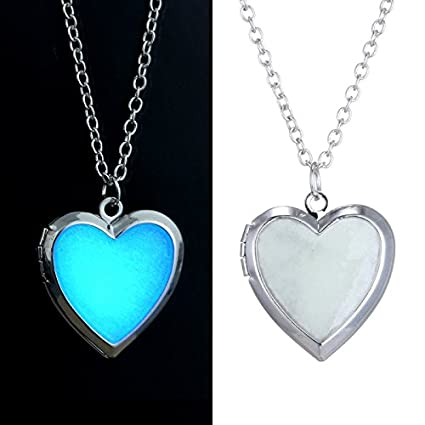Buy glow in dark heart shape silver plated pendant necklace with glow in dark heart shape silver plated pendant necklace with chain aloadofball Choice Image