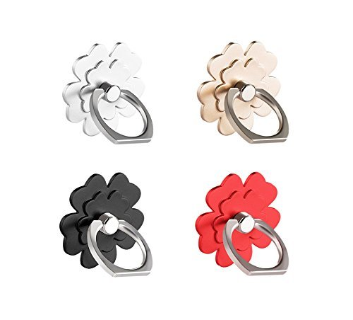 (4 pcs) Cell Phone Flower Ring Holder,Flower Phone Ring Kickstand,Universal 360 Rotation Cell Phone Finger Ring Grip for Almost All Phones/Pad(4 Color Flower)
