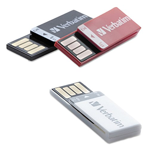 Verbatim 8GB Clip-it USB Drive Flash Drive 3 Pack, Black, White, Red 98674 (Drive Clip)
