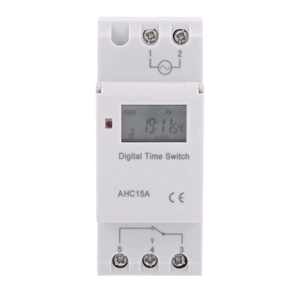 24V 7 d/ías con pantalla LCD Interruptor temporizador el/éctrico digital Interruptor programable semanal diario de 24 horas