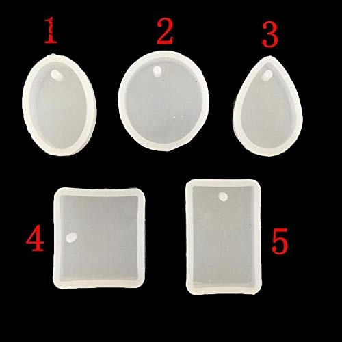 5Pcs/set Water Drop Epoxy Silicone Mold Fondant Crystal Diamond Bracelet Pendant Jewelry Doming Resin Casting Mould Craft ()