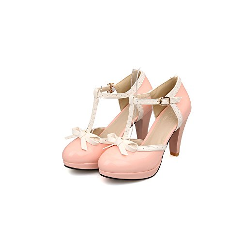 Platform T-strap Patent (Lucksender Fashion T Strap Bows Womens Platform High Heel Pumps Shoes 10B(M) US Pink)