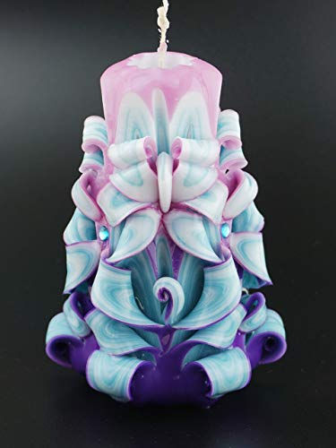 (Carved Candles Scented Turquoise Pink Blue White - Custom order available with any scent color shape - Handmade in USA)