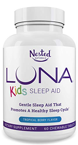 - LUNA Kids | #1 Sleep Aid Tablets for Children 4+ and Sensitive Adults | Naturally Sourced Ingredients | 60 x Chewable Pills | Gentle, Herbal Supplement with Chamomile, Melatonin, Valerian & Lemon Balm