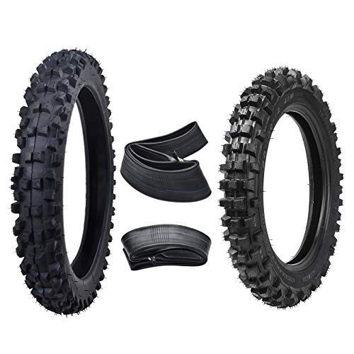 WPHMOTO Front 60/100-14 & Rear 80/100-12 Motocross Tire with Tube