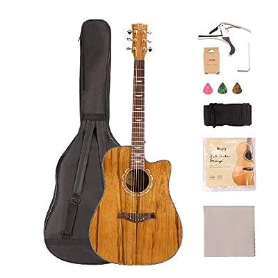 Mugig Steel-String Acoustic Guitar Bundle 41Inch with Gig Bag, Tuner, Strings, Strap, Picks for Guitar Professional?Beginner