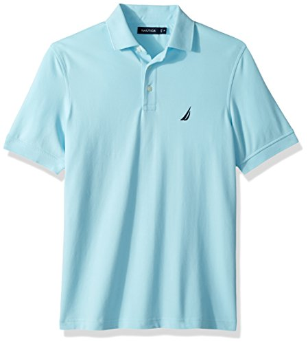 Nautica Men's Short Sleeve Solid Stretch Cotton Pique Polo Shirt, Bright Aqua Large