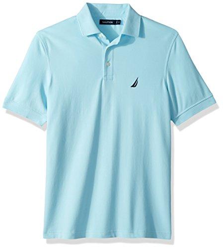 Nautica Men's Short Sleeve Solid Stretch Cotton Pique Polo Shirt, Bright Aqua, Large (Men Dress Shirt Nautica)