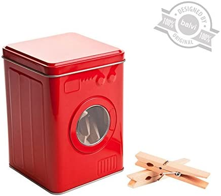 Balvi Caja Pinzas Lavadora Color Rojo con 24 Pinzas de Madera Tapa con visagra Forma de Lavadora Lata: Amazon.es: Hogar