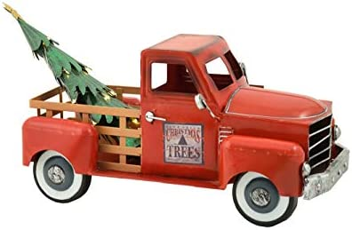 Zaer Ltd. Metal Lit-Up Holiday Truck with a Removable Christmas Tree and Attached LED Lights Red with Lights