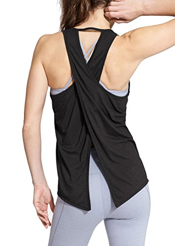 Mippo Women's Summer Cross Back Workout Clothes Shirt Loose Fit Yoga Racerback Tank Tops Sleeveless T Shirt Casual Active Gym Crop Top Black (Cross Back Tank)