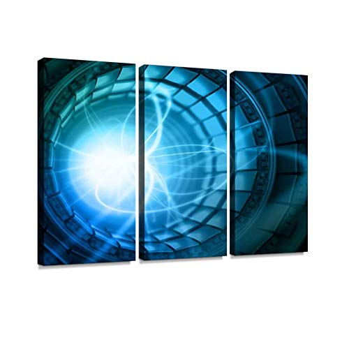 HABEN ARTWORK Collision of Particles in The Abstract collider Quantum Mechanics Print On Canvas Wall Artwork Modern Photography Home Decor Unique Pattern Stretched and Framed 3 Piece