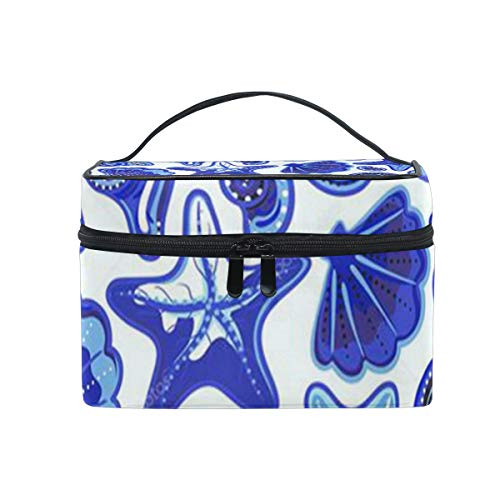 (Travel Cosmetic Bag Starfish Shell Background Toiletry Makeup Bag Pouch Tote Case Organizer Storage For Women Girls)