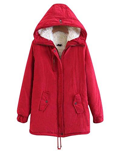 Hooded Jacket Long Outwear Women Outwear Fur Faux Red Parka Warm Cardigan Moollyfox Coat Wn01xq8Yq