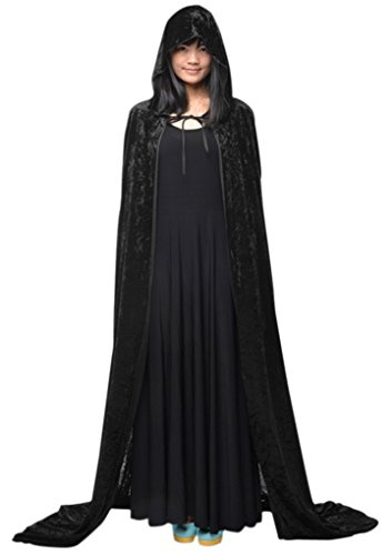 Adults Long Halloween Fancy Dress Hooded Robe Cloak Wizard Cosplay Costumes (Medieval Fancy Dress Plus Size)