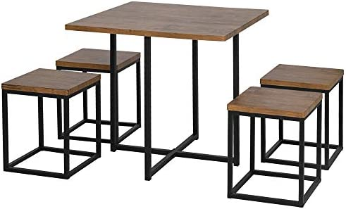 HOMCOM 5 Piece Dining Room Table Chair Set Square Board Steel Space Saving