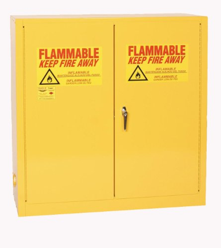 Eagle 1932 Safety Cabinet for Flammable Liquids, 2 Door Manual Close, 30 gallon, 44'Height, 43'Width, 18'Depth, Steel, Yellow