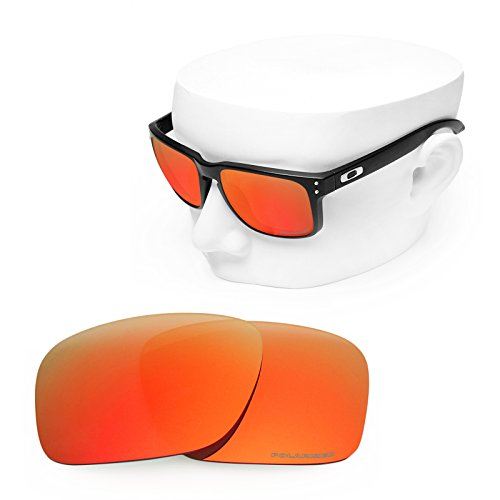 OOWLIT Replacement Sunglass Lenses for Oakley Holbrook Fire Red Mirror - Fire Iridium Oakley Holbrook Lens