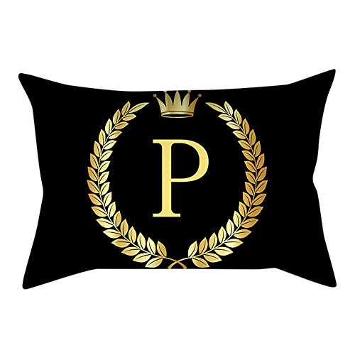 (UROSA Letter Pillowcase Sofa Cushion Cover Home Decor Pillow Cover Black and Gold30X50cm)