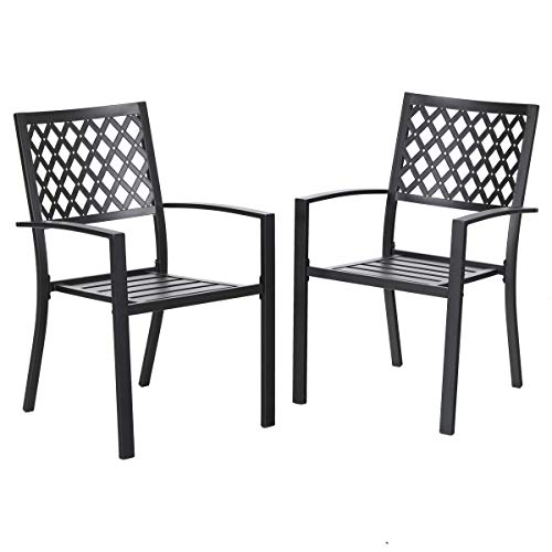 PHI VILLA 300lbs Wrought Iron Outdoor Patio Bistro Chairs with Armrest for Garden,Backyard – 2 Pack