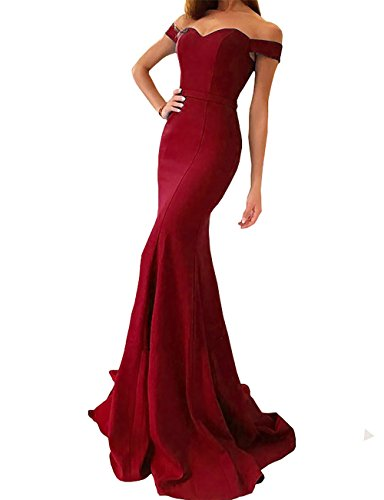 Yinyyinhs Women's Off The Shoulder Mermaid Evening Dresses Long Prom Gowns Size 16 Burgundy