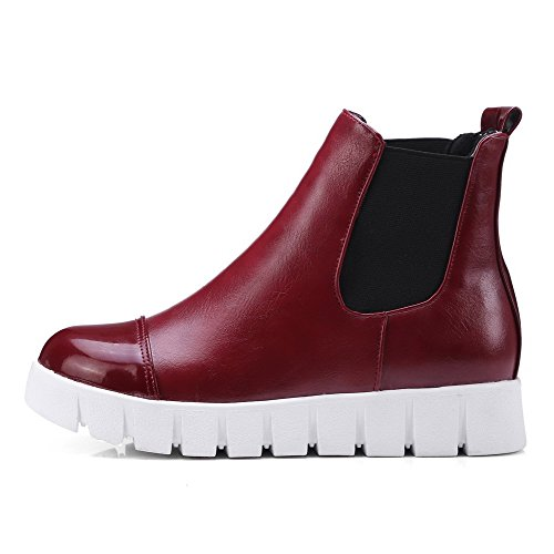 on AmoonyFashion Pull Color Soft top Red Heels Womens Low Boots Material Low Assorted gvAg6wqH