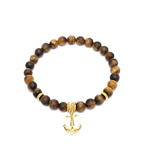 (925 Sterling Silver Anchor Bracelet plated in 18k Yellow Gold with Multi-Stoppers. Matte Yellow Tiger Eye stones with healing powers to accentuate your energy and look.)