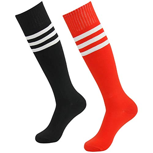 - Knee High Athletic Socks,Fasoar Men's Women's Long Tube Football Soccer Socks 2 Pairs Black Red