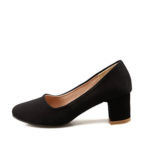 BalaMasa Ladies Chunky Heels Low-Cut Uppers Square-Toe Suede Pumps Shoes Black MdjPUfW