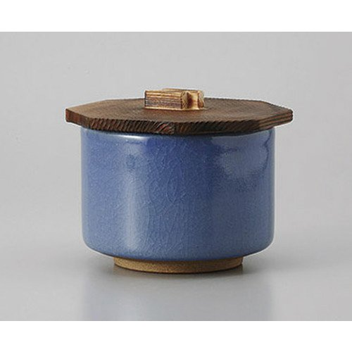 [mkd-528-15-31e] Dishware Tortoise Blue Glazed lidded rice vessel [body 10.6 x 7.7 cm lid 12 cm] Turpente Ryokan Japanese style dish for drinking service ()