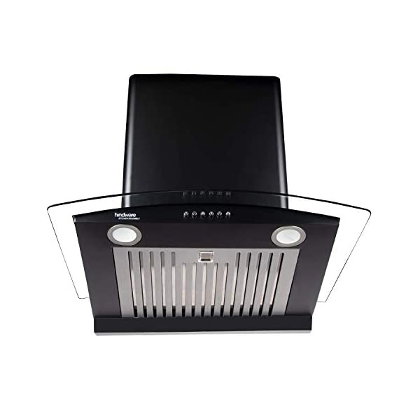 Hindware Elena 60cm 1100 m3/hr Auto-Clean Kitchen Chimney With Curved Glass (Baffle Filter, LED Lamps, Black) (C100203)