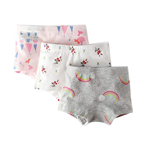 Little Girls' Castle Panties Rainbow Boyshort Pink Undies Flower Boxer Briefs for Kids