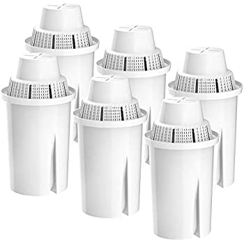 Filterlogic Pitcher Water Filter, Replacement for Brita Classic 35557, OB03, Mavea 107007, Compatible with Brita Pitchers Grand, Lake, Capri, Wave and More (Pack of 6)
