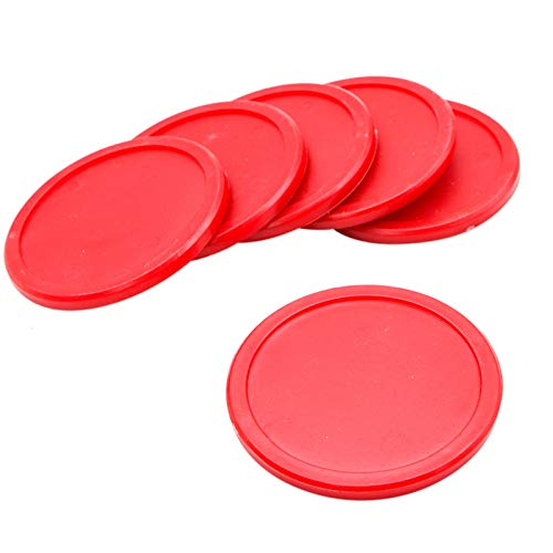 6 PCS AQUEENLY Air Hockey Pucks in 2.95 Inches for Full Size Air Hockey Table Red Replacement Pucks