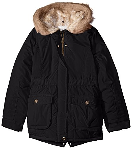 Simpson Jessica Rail Girls' Fur Faux Black Big Parka Hood Quilted Heavyweight P4wqT4d