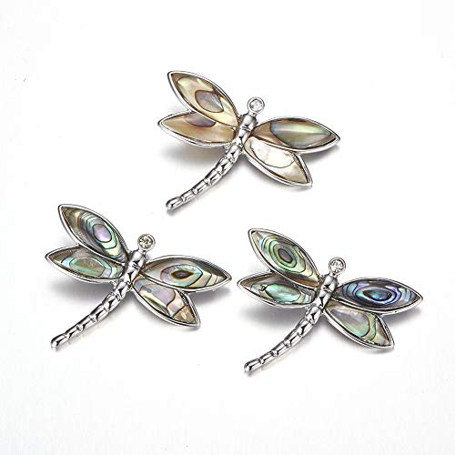 MegaPet 1pc Pana Abalone Shell Dragonfly Pendants with Brass Rhinestone Findings Pet Collar Charms for Dogs Cats Puppy Animal Lovers DIY Necklace Bracelet Making Accessories 31.5x24x6.5mm