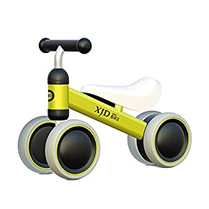 XJD 8 Colors Baby Balance Bikes Toddler Trike 10-24 Months No Foot Pedal Bicycle (Yellow)
