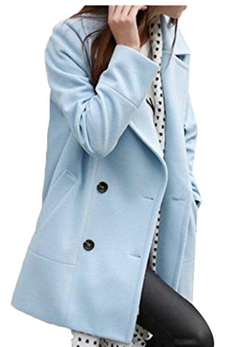 Beloved Women's Winter Lapel Double Breasted Wool Blend Peacoat Trench Coat Light Blue M