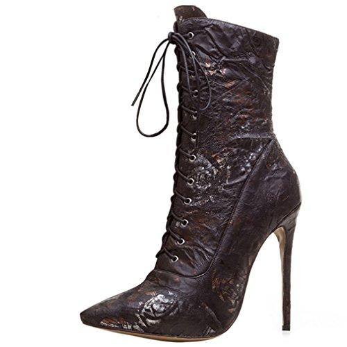 ENMAYER Microfibra botas de material para las mujeres Tacones altos Botas de dedo del pie con punta Negro