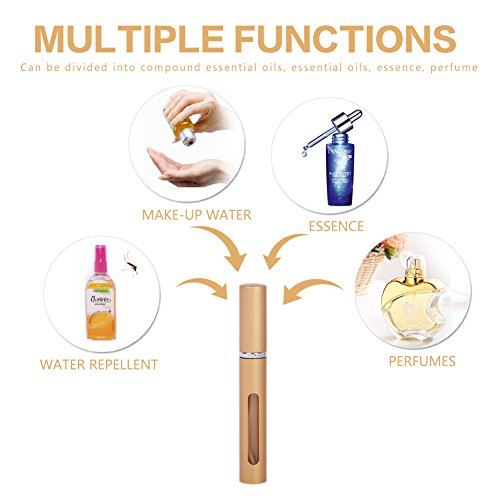 Perfume Spray Bottle Atomizer, Refillable Empty Fine Mist 5ML Mini Spray Bottle for Essential Oils, Travel Perfumes - Refillable Perfume Atomizer Bottle with Pumps, 7 Bottles and 2 Sliver Funnels by MUB (Image #2)
