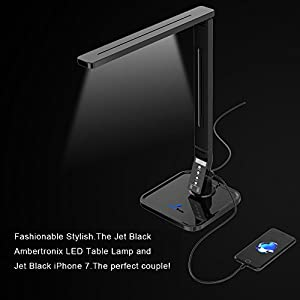 Ambertronix LED Desk Table Lamp, Soft Touch Control Panel, 5 Level Brightness, 4 Color Modes, 14W, 1-Hour Auto Time Off, 5V/1A, USB Charging Port, Philips EnabLED Licensing Program Member (Black)