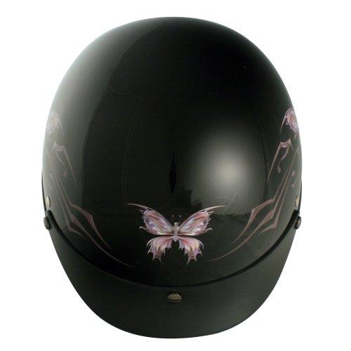VCAN V531 Intricate Butterfly Gloss Black Medium Half Helmet - Gloss Black Helmet